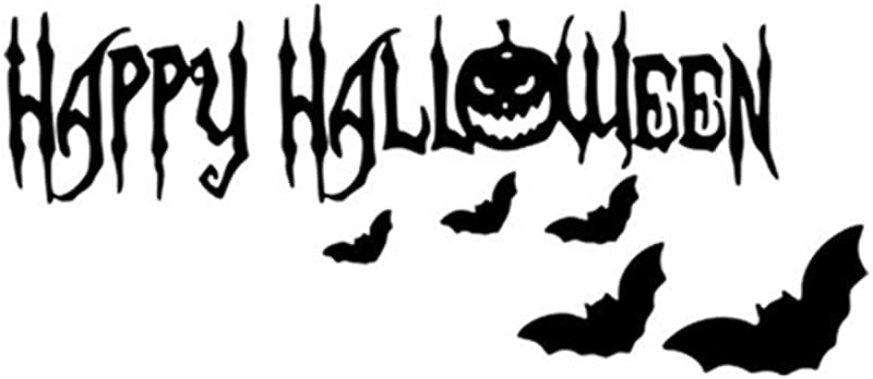 Glumes Halloween Wall Stickers 7 2 X 22 4 Inch Happy Halloween Pumpkin Bat Removable Wall Decals Window Stickers Halloween Decorations For Kids Rooms Nursery Halloween Party