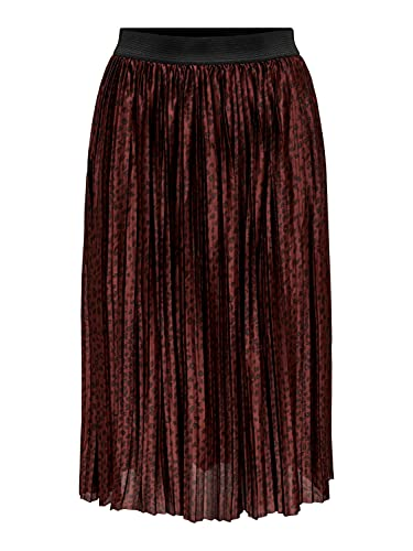 Womens Jacqueline de Yong Skirt Jersey Pleated Knee Length Elegant Leo Pattern Stretch Waistband JDYBOA, Color:Tinto de Vino, Talla:34