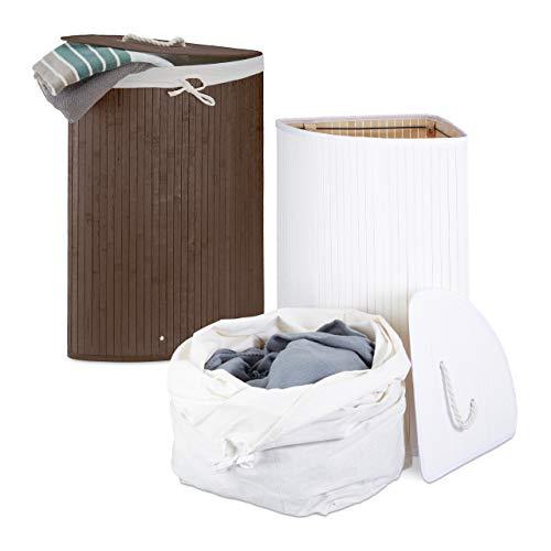 Relaxdays 2 x Eckwäschekorb im Set, Wäschetrennsystem aus Bambus, Wäschesammler mit herausnehmbarem Wäschesack, je 64 L, braun und weiß