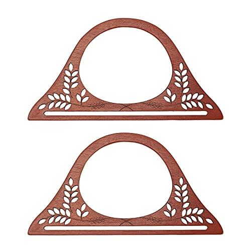 CHGCRAFT 2 Piezas Reemplazos de Manijas de Madera en Forma de D Bolso Hecho a Mano para Hacer Asas para la Elaboración de Bolsos Coconut Brown 5 × 10 × 0.2 Pulgadas