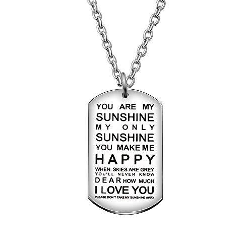 AGR8T Collana con Ciondolo, Compleanno, Famiglia, Fidanzata, Fidanzato, Regalo – You Are My Sunshine My Only Sunshine
