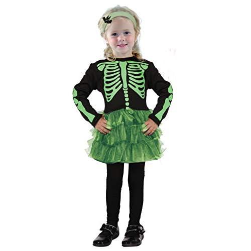 Ciao-Costume bambina Scheletrina, 3-4 anni, Nero/Verde, 61345.3-4.DS