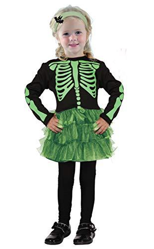 Ciao 61345.3-4.DS - Disfraz de esqueleto para niña (3 a 4 años), color negro y verde