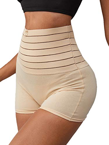 Milumia Women's Striped Tummy Control Panties Butt Lifter Waist Trainer Shapewear Shorts Nude Medium