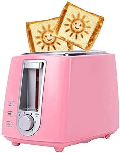 CAIJINJIN Máquina para hornear Tostadora de 2 rebanadas, Modelo de acero inoxidable tostadoras precioso sonriente con Cancelar función de descongelación extra ranura ancha compacto for waffles Pan lxh