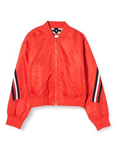 Tommy Hilfiger Mädchen Global Stripe Taped Bomber Jacke, Rot (Deep Crimson Xnl), Jahre (Herstellergröße: 16)