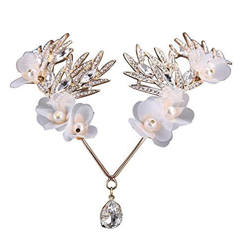 MoGist Brauthaar Ornamente Seide Garn Handgemachte Stirn Weiß Strass Hochzeitskleid Accessoires