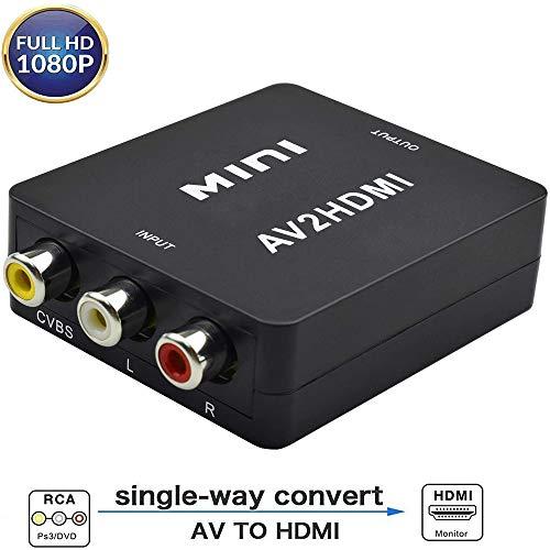 RCA auf HDMI Adapter Snxiwth 1080P 3RCA Composite Converter AV auf HDMI Wandler Adapter für TV/PC/PS3/Blue-Ray DVD, SchwarVBS AV zu HDMI Video Audio Kz