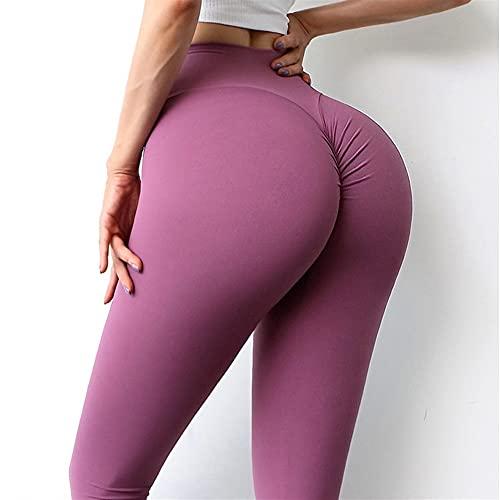 Pantalones de yoga Ladies Fitness Leggings Nylon High Cintura Pantalones Pantalones Leggings Damas Ropa de Entrenamiento (Color : Plum Purple, Size : Medium)
