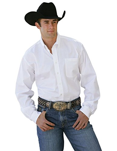 Cinch Men's Classic Fit Long Sleeve Button One Open Pocket Solid Basic Shirt, White, X-Large