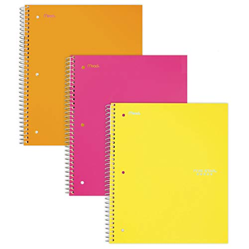 "Five Star Spiral Notebooks, 1 Subject, College Ruled Paper, 100 Sheets, 11"" x 8-1/2"", Orange, Pink, Yellow, 3 Pack (38443)"