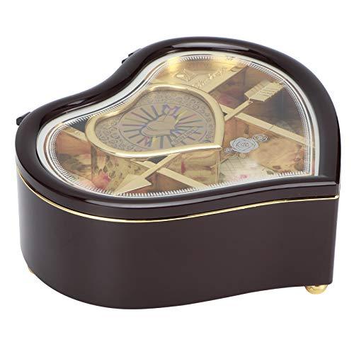 Caja De Almacenamiento De Joyería Musical, Caja De Música De Bailarina Giratoria 7.5x7.3x3.0in Caja De Joyería Musical De Corazón Para Pendiente, Collar, Pulsera