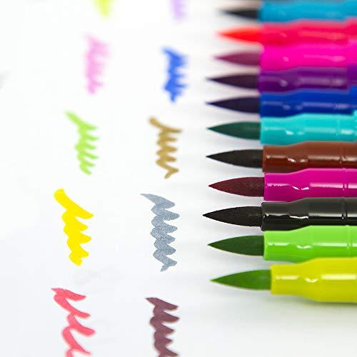 Entweg 60 cores Canetas de pincel de ponta dupla Escova flexível e 0.4mm Fineliner Tip Watercolor Art Markers Set for Children Adultos Artistas Journaling Desenho Pintura Esboçar Colorir Caligrafia