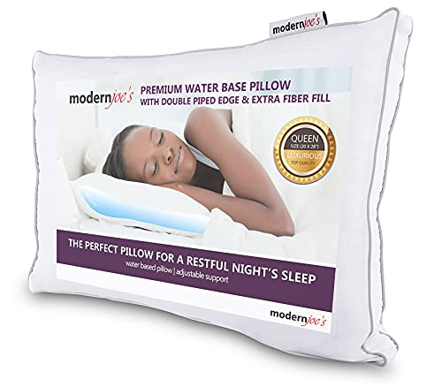 MODERNJOE'S Luxurious Water Pillow - Queen Size with Double Piped Edge - Fully Adjustable Orthopedic Support and Hypoallergenic Waterbase Pillow Hotel Collection by Modern Joe's