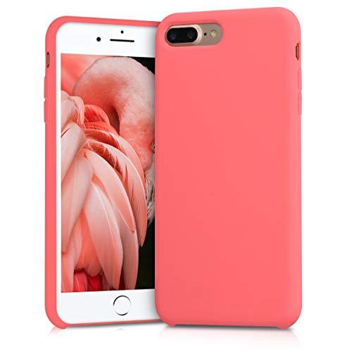 kwmobile Cover compatibile con Apple iPhone 7 Plus / 8 Plus - Custodia in silicone TPU - Back Case protezione cellulare corallo fluorescente