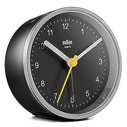 Braun Classic Analogue Alarm Clock with Snooze and Light, Quiet Quartz Movement, Crescendo Beep Alarm in Black and Silver, Model BC12SB.