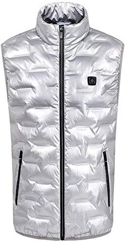CHNDR herenkleding/verwarming, vest met USB-kabel – voor gebruik buitenshuis, racing, reizen, fiets, ski, zilver, US/EUXS-TAGM