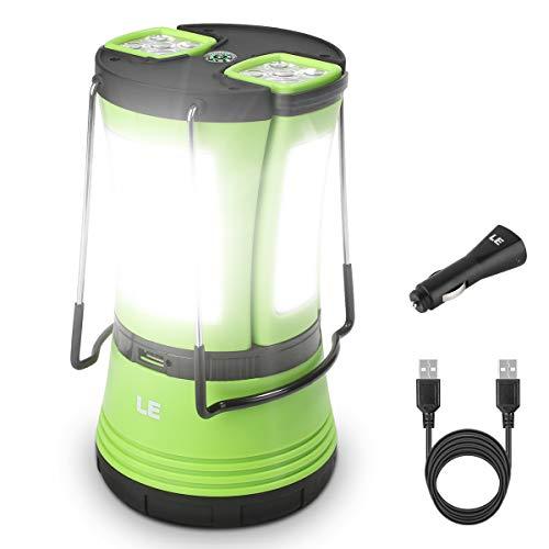 LE LED Campinglampe mit 2 abnehmbaren Taschenlampen, Batteriebetrieben & 1800mAh Akku Notfallleuchte, 600 Lumen Zeltlampe, Outdoor Suchscheinwerfer für Notfälle, Wandern, Angeln, Stromausfälle usw.