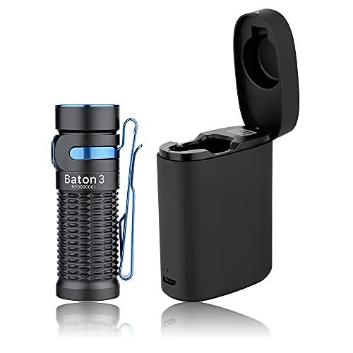 OLIGHT Baton 3 kit Linterna LED Recargable Alta Potencia de 1200 Lúmenes 166 Metros 5 Modos Mini Linterna de Bolsillo Impermeable con Cargador inalámbrico para Emergencia Paseo Camping Senderismo