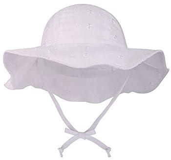 SimpliKids UPF 50+ UV Sun Protection Wide Brim Baby Sun Hat,White2 0-12 Months