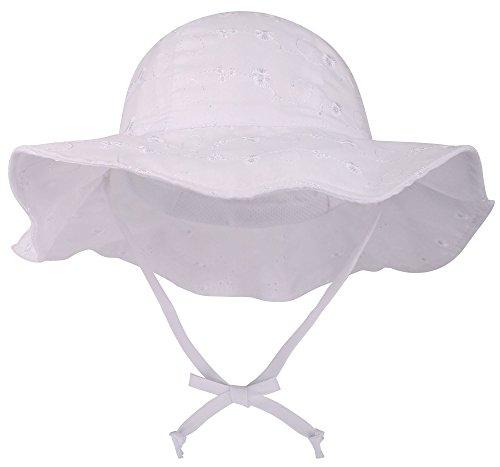 SimpliKids UPF 50+ Uv Sun Protection Wide Brim Baby, White #2, Size 12-24 Months