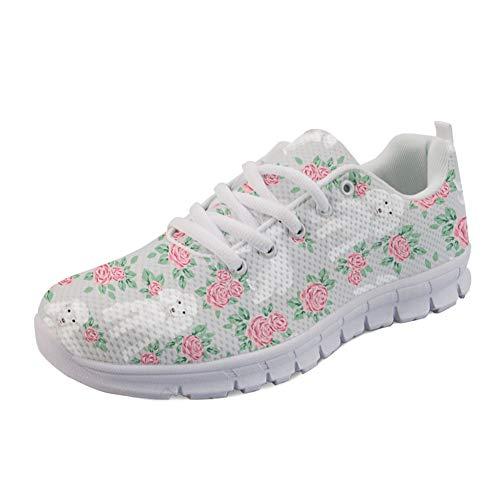 Coloranimal Go Easy Walking Flats Nettes Spielzeug Pudel Blumenstrauß Pet Design Laufende Turnschuhe Air Mesh Lace Up Flats Schuhe Schuhe EU Größe 43