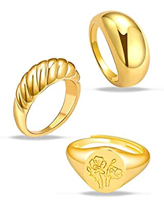 MOROTOLE 3Pcs Chunky Gold Rings Set for Women Thick Dome Rings 18K Gold Plated Croissant Braided Twisted Stacking Round Signet Rings Jewelry Size 6-10