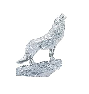 BePuzzled Original 3D Crystal Jigsaw Puzzle - Wolf Animal Assembly Brain Teaser, Fun Model Toy Gift Decoration for Adults & Kids Age 12 and Up, Clear, 37 Pieces (Level 1) by University Games
