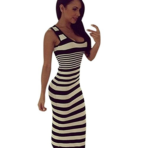 FEIXIANG Damen Frau gedruckt Weste Casual Dress Rock gestreifte Lange Kleid Beach Party Kleid (S, Schwarz)
