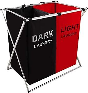 125LLaundry Basket 2 Section Hamper Organizer Sorter Storage Foldable & Light Hampers with Aluminum Frame (24x 15x 23 inch...