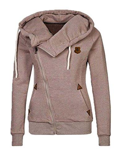 ROSEUNION Damen Hoodie Reißverschluss Langärmelige Kapuzenpullover Sweatshirt Sweatjacke Kapuzenjacke Frühling Herbst Sweatshirt Oberteil Pullover (Khaki, EU 42)