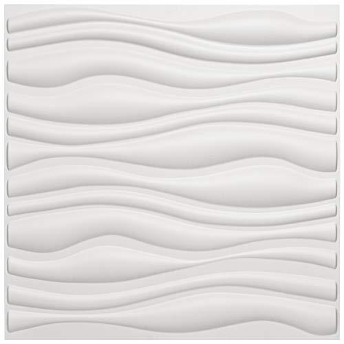 Art3d PVC Wave Board Strukturierte 3D-Wand Panels Weiß, 50x50cm (12er Pack)