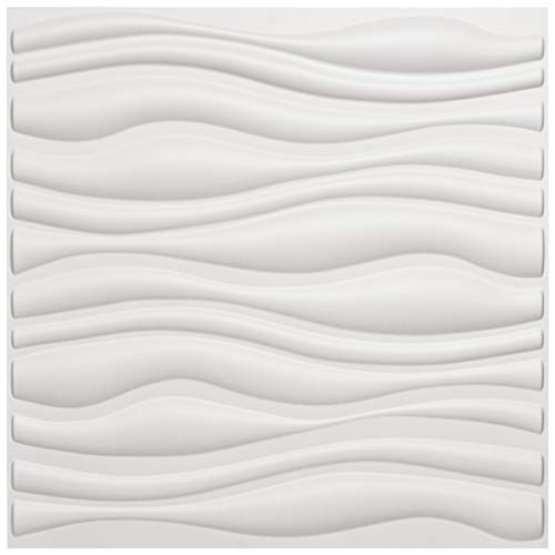"Art3d PVC Wave Board Textured 3D Wall Panels, White, 19.7"" x 19.7"" (12 Pack)"