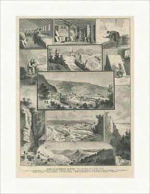 Kunstdruck Ansichten aus den Solnhofener Steinbrüchen Mörnsheim Trost Holzstich E 25618