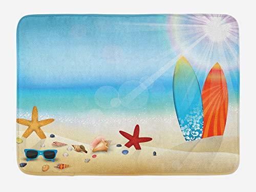 Seashells Alfombrilla de baño, Gafas de sol con tema navideño, Playa, Verano, Tabla de surf, Daytime Sunny Starfish Seashells, Alfombra de felpa para decoración de baño con respaldo antideslizante, Az