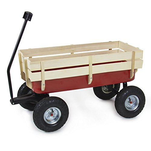 Best Choice Products Wood Wagon ALL Terrain Pulling Red w/ Wood Railing Garden Cart