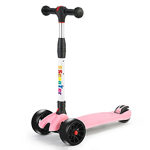Why Should You Buy Rishx Children's Scooter One Second Folding Kick Scooter 50mm Thicken Flash PU Wh...