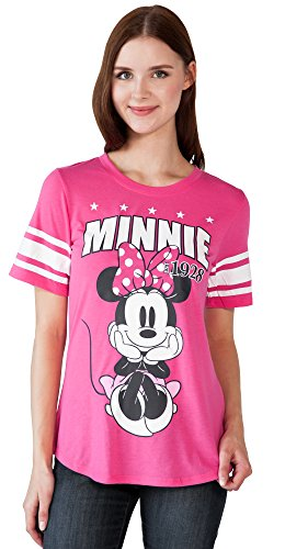 Disney Adult Junior Fashion Football Tee Minnie Mouse 28 Pink (X-Large)