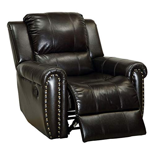 Furniture of America Manalo Grain Leather Glider Recliner in Dark Brown