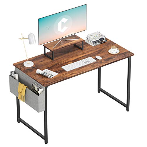 Cubiker Computer Desk 47 Inch Home Office Writing Desk Student Study Desk with Small Table and Storage Bag, Dark Rustic