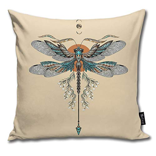 BLUETOP Dragon Fly Tattoo Pillow Cover, 18 x 18 Inch Winter Holiday Farmhouse cotton Cushion Case Decoration for Sofa Couch