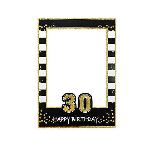 Cornice per Selfie, Cornici per Selfie Compleanno, Oro Nero Cornici Selfie Picture 30th Frame Photo Booth Cornici Selfie per Compleanno, Matrimonio, Fai-Da-Te Feste Decorazioni (Stile D)