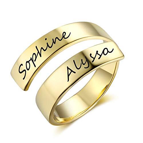 Grand Made Donna Personalizzato Twist Ring 2 Nome Open Regolabile Inciso Nome Regalo Mom Daughter Promise Anello Compleanno San Valentino Anniversario Donna Anello (Gold, Acciaio Inossidabile)