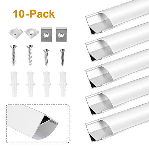 Kefflum LED profil 10 Meter LED Profil (10 * 1Meter) Aluminium 45 Grad, 10 Pack V-Form für LED Band/-Strips bis 12 mm