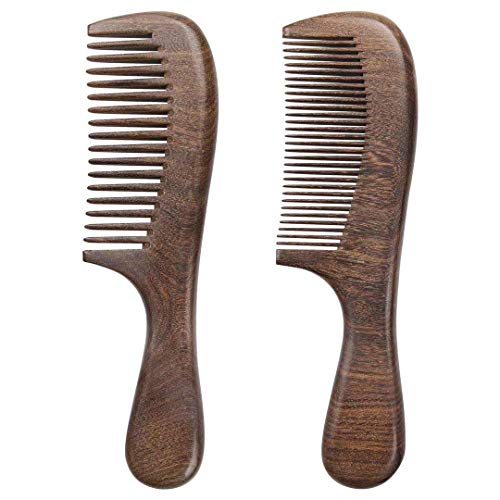 Phniti Wooden Hair Comb Find Natural Handmade Green Sandalwood Hair Comb for Men Women and Kids Pack of 2