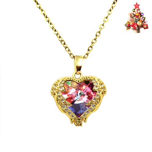 Heart Necklace, Gold Plated Cubic Zirconia Dainty Pendant Necklace for Women and Girl Birthday for Mom/Wife/Sister/Best Friend with Dainty Jewelry Box (Pink)