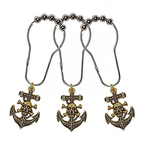 Nautische Badezimmer-Dekoration, Piraten-Dekor, nautische Duschvorhang-Haken, 12 Stück (Bronze)