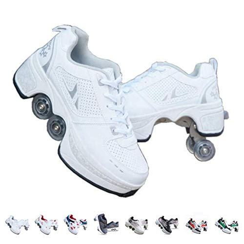 Roller Skates for Kids/Women,Shoes with Wheels for Girls,Kick Rollers Shoes Skates Retractable Adult,Skating Shoes for Boys,Heel Skates for Kids,Sports/Outdoor Recreation Parkour Shoes,White-8