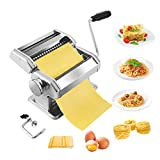 Pasta Maker,Stainless Steel Manual Pasta Maker Machine With 8 Adjustable Thickness Settings,2 Blades Noodle Cutter, Perfect for Homemade Spaghetti, Fettuccini, Lasagna,or Dumpling Skins