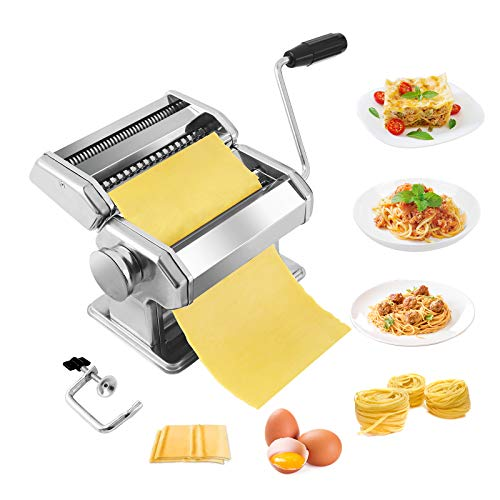Pasta MakerStainless Steel Manual Pasta Maker Machine With 8 Adjustable Thickness Settings2 Blades Noodle Cutter Perfect for Homemade Spaghetti Fettuccini Lasagnaor Dumpling Skins